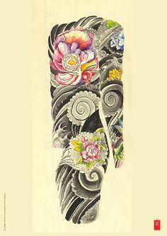 Flower, Wind, Body Suit Tattoo Flash