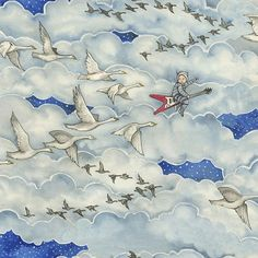 """""""Brevan and the Flying V"""", the kick off fabric in what was to be a serie - Cean Irminger (@ceanirmingerdesign)"""