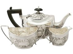 Sterling Silver Three Piece Tea Service - Antique Victorian  SKU: A4465 Price: GBP £1,395.00  http://www.acsilver.co.uk/shop/pc/Sterling-Silver-Three-Piece-Tea-Service-Antique-Victorian-67p8588.htm