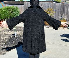 Persian Curly Lamb Full Length 3/4 Sleeves Coat Small Vintage 1950's by EclecticsByChristine on Etsy