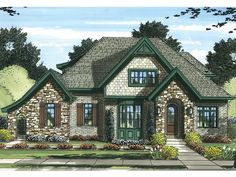 Though this charming exterior evokes a quaint cottage, the inside of plan DHSW077426 actually displays a modern open layout with the emphasis on the kitchen.