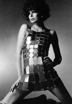 1966. Model Gloria Friedrich in Paco Rabanne. Photo by ?