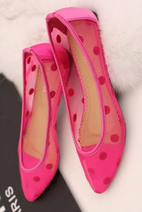 $13 fishnet spotted flat shoes -ZZKKO