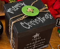 Craft Painting - Christmas Chalkboard Present Add a piece of chalk and let the receiver decorate his/her own box, erase it and go again ... INSTEAD of trying to peak inside!