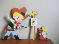 60s dolly toy paper wells fargo bank robber and sheriff