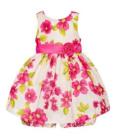 Love this Cream & Pink Floral Rosette Dress & Bloomers - Infant by American Princess on #zulily! #zulilyfinds