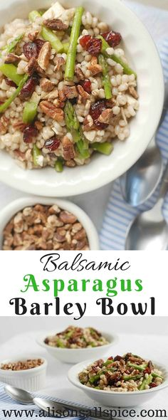 This bowl is made with feta, pecans, cranberries, asparagus, barley and a homemade balsamic sauce!  From Alison's Allspice!