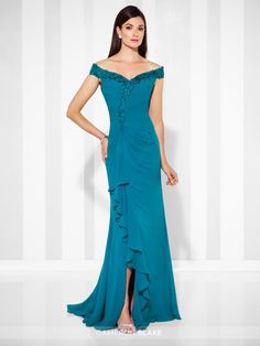 Cameron Blake - 117602 - Off-the-shoulder chiffon A-line gown with lace-trimmed neckline, asymmetrically pleated bodice with lightly hand-beaded lace trim, side gathered skirt with cascading ruffle, sweep train. Matching shawl included.Sizes: 4 – 20Colors: Pewter, Teal