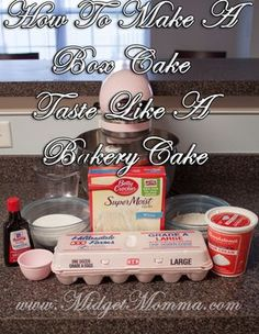 Make Boxed Cake Mix taste like Bakery cake. Tried this on Betty Crocker super moist white cake mix. Great flavor. A little crumbly/sticky. June 2017