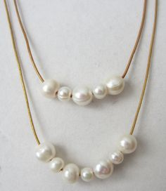 2 Tier white freshwater pearl and metallic by PearlnLeatherJewelry, $15.00