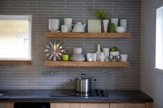 kitchen shelves and grey backsplash