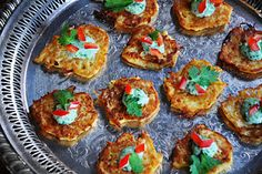 Spaghetti squash fritters with scallion cilantro sauce http://thesalivatingseattleite.blogspot.com/2011/12/spaghetti-squash-fritters-with-scallion.html