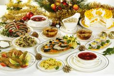 Wigilia is a meatless meal because, years ago, Catholics fasted for the 4wks of Advent, incld Christmas Eve. There are twelve main dishes (representing the Apostles). The foods are to represent the four corners of the earth -- mushrooms from the forest, grain from the fields, fruit from the orchards, and fish from the lakes and sea. Meals vary from family to family but usually include a special soup followed by many elegant fish preparations, vegetables, and pierogi.