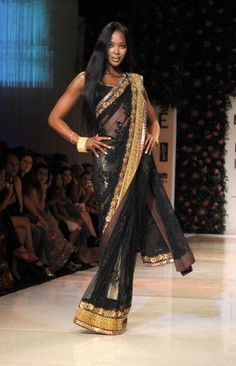 Naomi Campbell in sarees    firangi friday saree