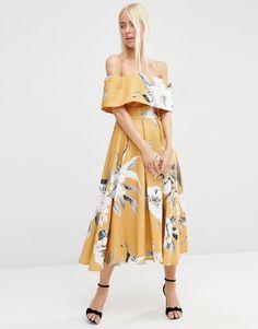 ASOS Premium Off The Shoulder Bardot Midi Prom Dress In Mustard Floral