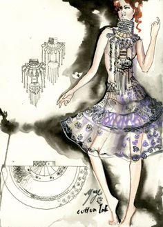 water color fashion illustration by yoyo han, via Behance