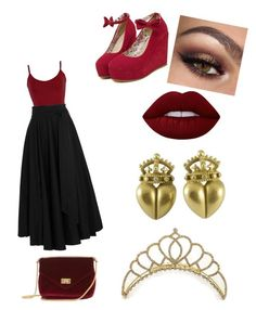 """The Alice Series #2 The Queen Of Hearts"" by bellecrown ❤ liked on Polyvore featuring BKE core, TIBI, Lime Crime, Kieselstein-Cord, red, queen, sultry, witchy and The_Alice_Series"