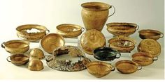 The earliest beaten bronze vessels associated with ceremonial and perhaps ritual feasting and drinking occur in the Bronze D phase of the thirteenth century BC in Central Europe.    Beaten bronze cups in a succession of variant forms are characteristic of the Urnfield late Bronze Age ... Friedrichsruhe and Fuchsstadt cups, with decorated variants such as those from the Dresden-Dobritz hoard date from the end of Bronze D through Hallstatt A1 and A2