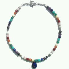 Rainbow gemstone necklace with dicroic glass pendant and silver tone snowflake spacers