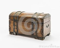 Old wooden treasure box on white background.