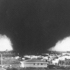 final outcome, terrible tuesday 1979 super cell tornado composed of multiple vortices. (my mom was from the area and her parents, aunts, and uncles still lived there) Wild Weather, Weather And Climate, Severe Weather, Extreme Weather, Tornado Alley, Tornado Pictures, Tornado Pics, Tornadoes, Cloud
