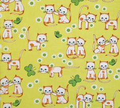 retro vintage 70s childrens fabric by vintage4kids on Etsy, $13.60
