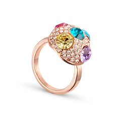 Charming Rose Gold Plated Finger Ring, With Rhinestone And Multicolor Austria Crystal Hemisphere Findings, Rose Gold, 18mm – sweetiee.com
