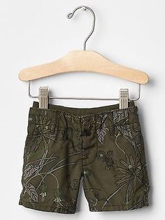 GAP Baby Boy Size 3-6 Months NWT Olive Green / Nature Twill Pull-On Shorts