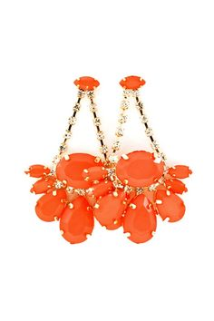 Coral Juniper Chandelier Earrings - Faceted Cut Marquise and Teardrop Cabochons suspended from a row of Crystals.