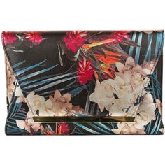 Gunne Sax Metallic Floral Clutch Evening Bag ($33) ❤ liked on Polyvore featuring bags, handbags, clutches, chain strap purse, brown evening bag, pvc handbags, metallic handbags and floral handbags