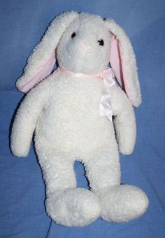 "Ty White Bunny Rabbit pink plush ears Bow Curly stuffed animal soft toy 18"" 1991 #Ty #Easter"