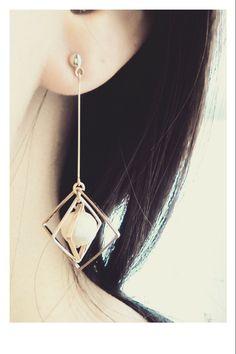 ~square×cotton pearl~pierce