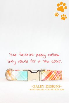 Plaid Dog Collar - Turquoise, Red & Orange Summer Colors <3 Zaley Designs