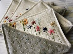 Hand embroidered coasters