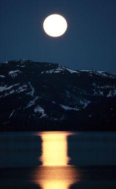 Setting moon over Lake Tahoe by Deak Wooten
