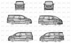 Vector illustration of wireframe design of modern vehicle van