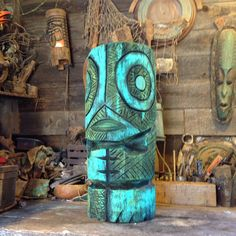 """Tiki carving I just finished. 2ft tall by 10"""" wide."""