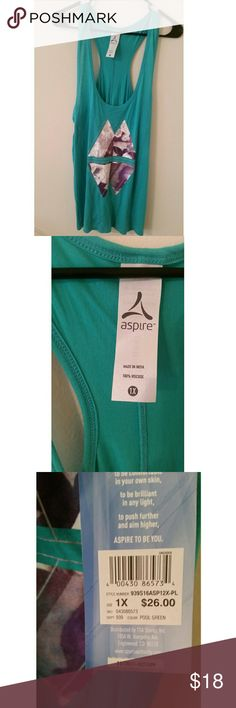 New with tags 1X workout top New with tags wimes plus size workout tank The color is pool blue Size 1X  No trades  Most offers will be considered  Happy poshing!  Remember, bundle and save! aspire Tops Tank Tops