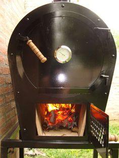 Hornos a leña y gas practicos y economicos. doble chapa (no tambor de 200ltrs.) Build A Pizza Oven, Diy Pizza Oven, Pizza Oven Outdoor, Wood Oven, Wood Fired Oven, Wood Fired Pizza, Bbq Smoker Trailer, Bbq Pit Smoker, Woodfired Pizza Oven