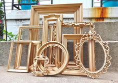 Large ORNATE Gold Picture Frame Set with Mirror by melissap6908, $100.00