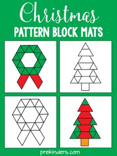 These Christmas pattern block mats are a fun way for kids to learn while they play. Pattern blocks teach children about shapes and geometry, as well as develop their visual discrimination skills. More free printable pattern block mats Kindergarten Activities, Preschool Activities, Kindergarten Christmas, Christmas Pattern Block Mats, Theme Noel, Holiday Activities, Christmas Activities For Preschoolers, School Holidays, Pattern Blocks