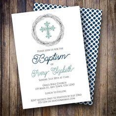 Wreath Baptism Invitation, Cross, Rustic Baptism Invite, Gender Neutral, Minimalist, Watercolor Wreath, Blue, Teal Green, 726 - Spotted Gum Design - Etsy
