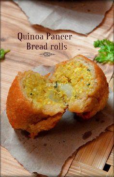 quinoa paneer bread rolls http://www.upala.net/2015/10/quinoa-paneer-bread-rolls-no-onion-no.html