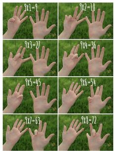 How to Multiply by 9 Using your Fingers is part of Learning math - Props to my grade teacher for this one Mrs Wootton, if you're out there, hi Math tricks are so sweet! This one will help you with multiplying 9 by any single digit etc etc Math For Kids, Fun Math, Math Activities, Spring Activities, Subtraction Activities, Numeracy, Multiplication Tricks, Learning Multiplication Tables, Math Fractions