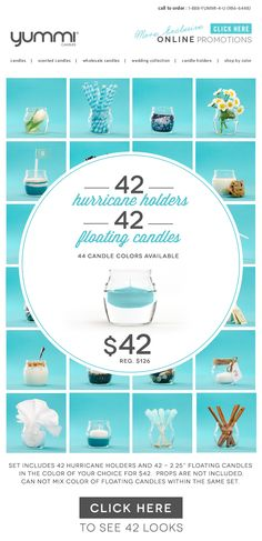 Over 65% OFF The New Hurricane Set! 42 Hurricane Holders and 42 Floating Candles For Only $42!