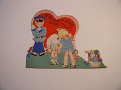 Vintage Valentine 1930-1940 Policeman with Girls and Bunny Stand Up. 4.5X3.5 - A