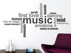 Entdecken Sie bei uns die moderne Wandtattoo Music Wortwolke in englisch für alle leidenschaftlichen Musiker und Musikfans. Weitere Motive finden Sie in unserem Online Shop.