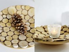 s i n n e n r a u s c h: Der Duft des Holzes  Wood slices on dishes!
