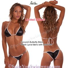 Cute beach swimsuit in black with white trim. Model Chelsea