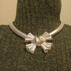 Vintage 1940s Choker Necklace Vintage Jewelry Silver Bow on Wide Oval Snake Chain Stunning Original Vintage War Years Jewelry by LadysSlipperVintage on Etsy